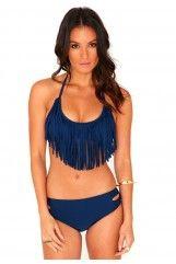 Weema Fringed Halterneck Bikini In Navy $38.29