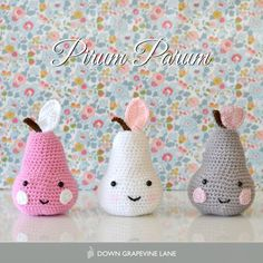 Crochet pear - Pirum Parum -  Nice colourful background - and not distracting at all :)