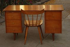 I Like Mike's Mid Century Modern - SOLD -- RESTORED PAUL MCCOBB PEDESTAL DESK WITH CHAIR