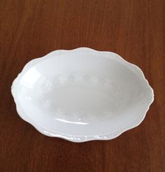 Antique Soap Dish, White Porcelain, Hermann Ohme Silesia Mark on Base, 1900s, Scalloped Rim, Decorated, Embossed, White-On-White Design