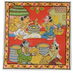 These cheriyal painting is made done on Khadi cloth specially processed with applying a paste of tamarind seed along with the tree gum and a white clay.This Painting gives an elegant look to your walls of the house and comes unframed. Saree Painting, Kalamkari Painting, Fabric Painting, Ancient Indian Art, Indian Folk Art, Ancient Art, Madhubani Art, Madhubani Painting, Indian Art Paintings
