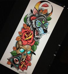 excellent sketch on the sleeve Sketch Tattoo Design, Skull Tattoo Design, Tattoo Sleeve Designs, Tattoo Sketches, Tattoo Drawings, Sleeve Tattoos, Rose Tattoos, Body Art Tattoos, Colored Tattoo Design
