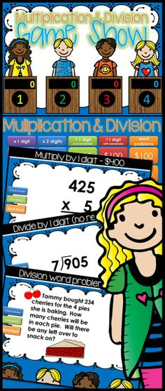 Multiplication and Division Jeopardy style game show .. by request! Excellent practice for your 4th and 5th students. With 25 practice problems, in a game show setting, your students will get lots of review. This request was for 2, 3, 4 digit numbers x 1 digit multiplication, 2x2 digit, 2, 3 digit divided by 1 digit with and without remainders, and word problems.  $