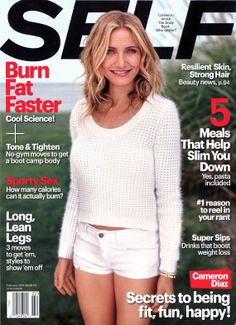 Cameron Diaz: Just Cause You Can Chew It & Swallow It Doesn't Mean It's Food!: Photo Cameron Diaz shows off her fabulous figure on the cover of Self magazine's February 2014 issue. Here's what the actress had to share with the mag:… Cameron Diaz, Lindsey Vonn, Healthy Tips, How To Stay Healthy, Healthy Food, The Body Book, Lean Legs, Cali Girl, Workout Machines