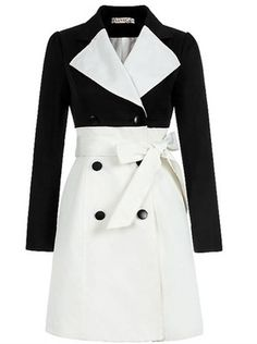 Color Block Double Breasted Trench Coat
