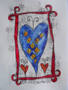Blue heart fed frame. Monoprint over collage and gesso, with painting and embellishments