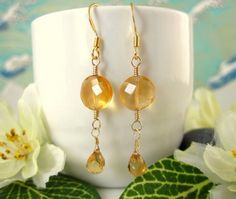 Gold citrine coin drop earrings by KBlossoms on Etsy, $45.00