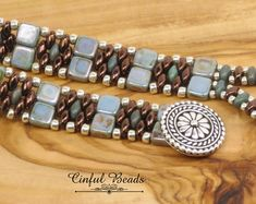 BEADED SUPERDUO BRACELET-Alabaster Blue Luster Tiles-Dark Bronze-Boho Bracelet-Beaded Superduo Bracelet-Tile Bracelet-Bronze Superduos- (3)