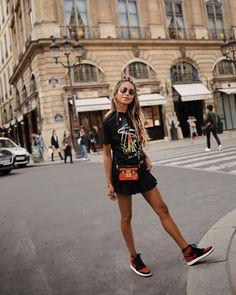 """JULIE SARIÑANA on Instagram: """"Sporty in Paris. ❤️ / Wearing Stella McCartney tee via @fwrd #lookfwrd"""" • Instagram"""