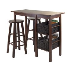 Winsome Wood 9456 Egan Storage Breakfast Table with 2 Baskets and 2 Round Stools | ATG Stores