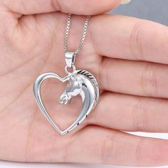 Horse in Heart Pendant w/ Necklace