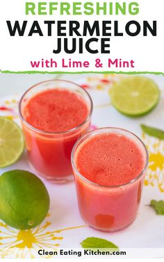 This delicious Watermelon Juice with Lime & Mint is such an easy and refreshing summertime beverage. It's naturally sweet and hydrating with no added sugar. Smoothie Drinks, Healthy Smoothies, Healthy Drinks, Healthy Snacks, Clean Eating Diet, Clean Eating Recipes, Eating Healthy, Whole Food Recipes, Juice Recipes