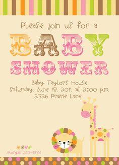 "Baby Jungle Animals CUSTOM Invitation for Girl Baby Shower 5"" X 7"" DIY PRINTABLE Lion & Giraffe"