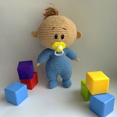 #crochet, free pattern, baby with pacifier, amigurumi, stuffed toy, #haken, gratis patroon (Engels), pop, baby met speen, knuffel, speelgoed, kraamcadeau, #haakpatroon