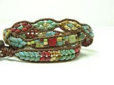 Blue Beaded Leather Wrap Bracelet Beaded Wrap Bracelet