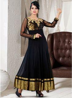 Exquisite Black Net Embellished #Salwar #Kameez #clothing #fashion #womenwear #womenapparel #ethnicwear