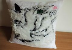 Fluffy White Cat Had Hand Knit Pillow Cover, Knit Cat Throw Pillow, Kids Bedding, Kids Room Pillow, Knit Pillow Case by Adorablewares on Etsy