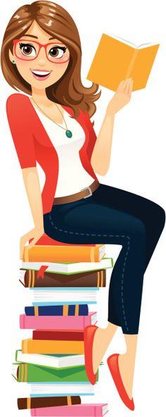 Book Illustration, Character Illustration, Illustrations, Cartoon Pics, Cute Cartoon, Reading Cartoon, Teacher Cartoon, Pile Of Books, Books To Read For Women