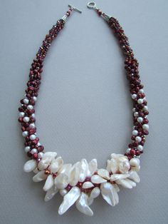 Red Wedding Pearl and Crystal Kumihimo Necklace by NoGlitzNoGlory, $230.25