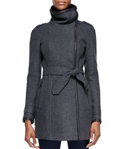 Leather-Trim Funnel-Collar Coat by Burberry Brit at Neiman Marcus.