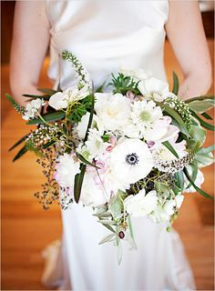 white wedding bouquet from styled shoot by One Hitched Lane Blog - dress is caroline from augusta jones at anna bé bridal boutique