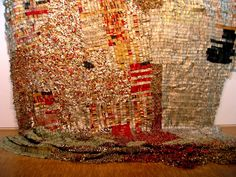 """Large-scale aluminum and copper wire tapestries by Ghanaian sculpture El Anatsui See new work by El Anatsui at the Jack Shainman Gallery in New York for his solo exhibtion """"Trains of Thought"""". Cup Art, Conceptual Art, Mosaic Art, Mosaics, Recycled Materials, Contemporary Art, Art Photography, Africa, Tapestry"""