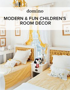 Who says you need to stick within the pink or blue children's room colors? We like this modern yellow, black and white palette.