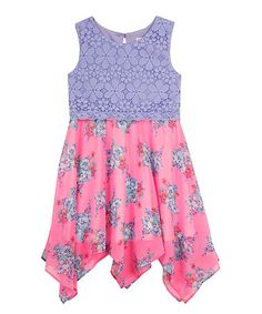 Another great find on #zulily! Lilac Lace Floral Chiffon Dress - Girls #zulilyfinds