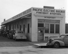 https://flic.kr/p/fqtw5X   Wingfoot Pacific Electric freight depot , ca.1937   A few cars are parked around the Wingfoot Pacific Electric Railway freight station, located 6300 S. Central Avenue.   LAPL