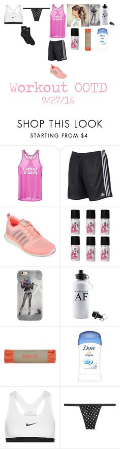 """•Workout OOTD•"" by cassieee-m ❤ liked on Polyvore featuring Victoria's Secret, adidas, Axe, Sweaty Betty, NIKE and Calvin Klein"