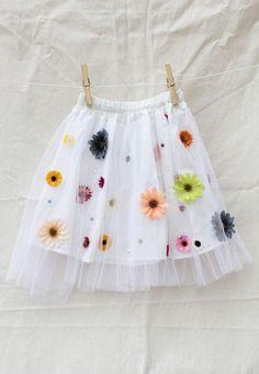 Saia de tule bordada com flores coloridas tamanho G - Can-Can