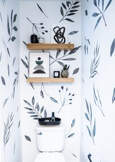 Powder Room Update with Wall Decals - Anna Mae Groves