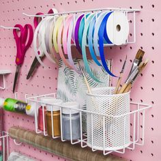 This 3 basket & 12 hooks set in white powder coat is perfect for craft organizing and any kind or home Organization   #pegboard #home #homeorganization #homeorganizationideas #homeorganizing #craftroom #craftorganization