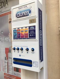A condom vending machine in Paris.
