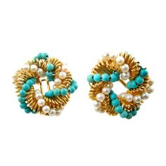 A perfect addition to a chich swim ensemble. BULGARI Turquoise, Pearl and Gold Earrings.