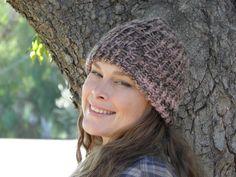 Hand Loom-Knit Beanie - Cream/Pink/Brown (Item #25) by yarncraftsbymom on Etsy