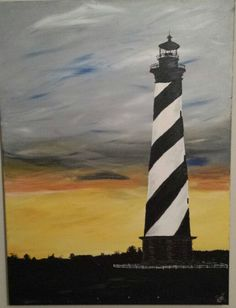 by Gail McCann, Cape Hatteras, NC lighthouse painting Nc Lighthouses, Lighthouse Painting, Cape, Gallery, Artwork, Mantle, Cabo, Work Of Art, Auguste Rodin Artwork