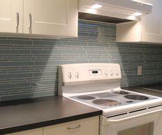 Jasper Blue Linear Glass Mosaic Tiles