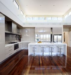 Urban Kitchens Australia in Caesarstone 2141 Snow- because I LOVE white kitchens Kitchen Corner, Family Kitchen, New Kitchen, Kitchen Decor, Kitchen Ideas, Kitchen Pantry, Modern Kitchen Island, Modern Kitchen Design, Grey Kitchens