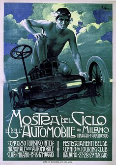 By Leopoldo Metlicovitz,1 9 0 5, Bike and Car Expo, Milan.
