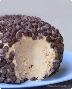Chocolate Chip Peanut Butter Cheesecake Ball: http://chocolatecoveredkatie.com/2014/02/04/chocolate-chip-peanut-butter-cheesecake-ball/