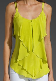Washed Crepe De Chine Ruffle Tank
