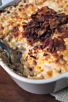 Baked Cream Cheese Corn with Crumbled Bacon this might be interesting to try for thanksgiving