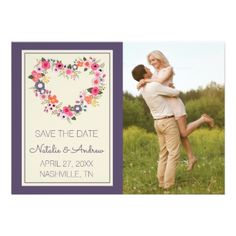 #personalize - #Floral Heart - Save The Date Card