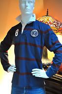 Tommy Hilfiger Men's Crested Patch Blue Rugby Shirt Size Medium NWT