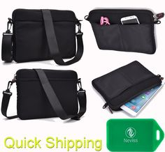 UNIVERSAL MESSENGER/SLEEVE BAG WITH ACCESSORIES POCKET AND SHOULDER STRAP FITS- Nabi XD Tablet IN Black