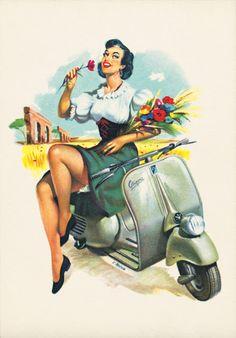 vespa dolce vita 1950 1970 | Motoblogn: 1950's Vespa Pin-Up Girls 2