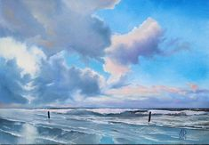 Original oil painting Sky over the Sea depicts a fragment of a sea beach after a thunderstorm. Feel the freshness of the sea breeze! A clear blue sky breaks through the clouds, giving hope and a wonderful mood. • Title: Sky over the Sea • Author: L. Doichenko • Materials: Oil on canvas •