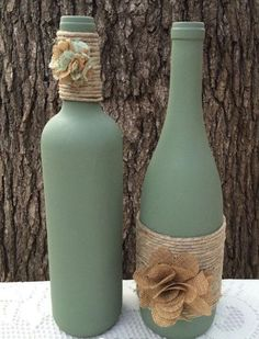 Sage hand painted wine bottles with twine and burlap flowers. Set of 2 - Sage hand painted wine bottles with twine and burlap flowers. Set of 2 - Reuse Wine Bottles, Recycled Wine Bottles, Painted Wine Bottles, Wedding Wine Bottles, Wine Bottles Decor, Wine Bottle Decorations, Diy Wine Bottles Crafts, Box Decorations, Wrapped Wine Bottles