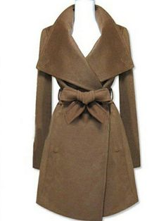 Women's Winter Coat Oversized Collar Bow Detail Casual Belted Coat
